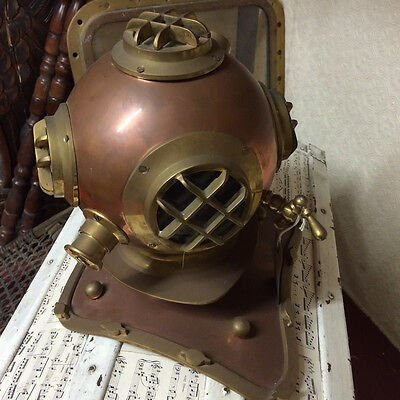 Vintage Antique Deep Sea Divers Helmet Copper & Brass Diving Reproduction