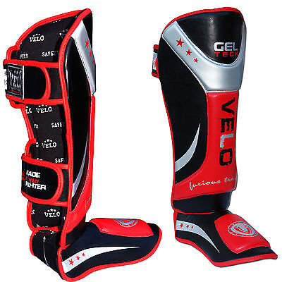 VELO Shin Guard Gel Pads MMA Leg Foot Guards Muay Thai Kick Boxing MMA Training