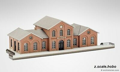 Archistories Z Scale 108131 Brick Train Station Railway Building KIT *NEW $0SHIP