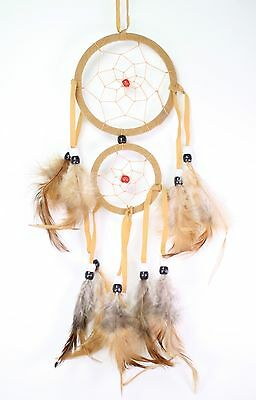 Beige Handmade Dream Catcher w Feathers Wall Hanging Decoration Ornament Gift