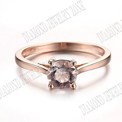 10K Rose Gold 6.5mm Round Genuine Morganite Engagement Ring Cathedral Setting