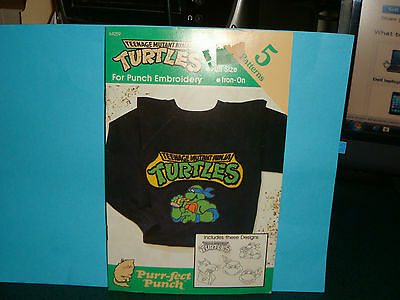 Vintage 1990 Purr-Fect  Punch Embroidery Iron On's TMNT