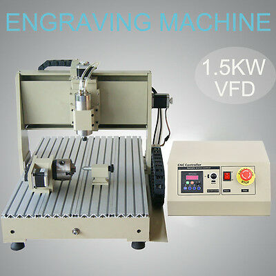 4 Axis CNC 6040 desktop Engraving Router Machine Precision Ball Screw 1.5KW int