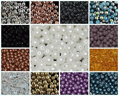 CHOOSE COLOR! 50pcs 5mm 2-hole RounDuo® Pressed Round Beads Czech Glass
