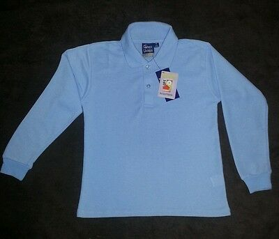 LIGHT BLUE SCHOOL UNIFORM LONGSLEEVE POLO SHIRT 30UPF SIZE 16 and small mens
