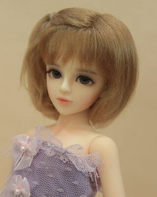 """1/6 yosd or 1/4 msd bjd 6-7"""" doll wig copper real mohair dollfie #W-JD189M4S"""