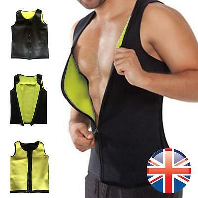 *UK Seller* Men Hot Neoprene Slimming Fat Burner Vest Body Shaper Weight Loss