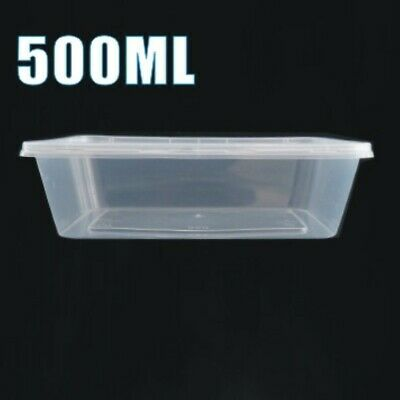 50 x 500ml Plastic Microwave Containers Food Box Tubs Lunch Takeaway Storage
