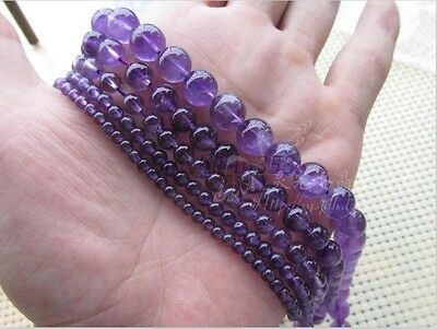 Grade A Natural Amethyst Gemstone Round Beads 16'' 4MM 6MM 8MM 10MM 12MM