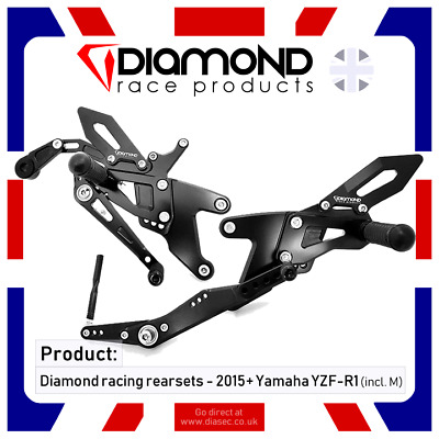 Diamond Race Products - Yamaha Yzf R1 R1M Rearset Footrest Kit 2015-2019 15-19
