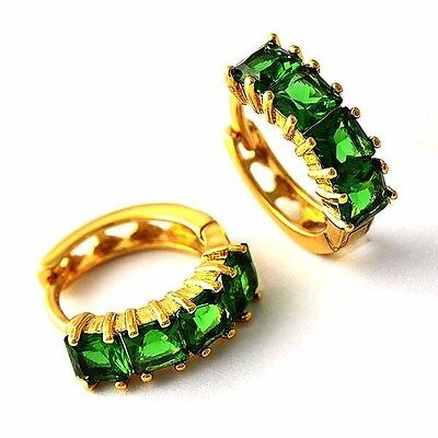 fashion jewelry Womens 18K Yellow Gold Plated Ruby & Emerald Girls Hoop Earrings