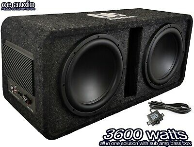 """12"""" Twin Active Amplified Double Bass Box Sub Car built in Amp 3600W  CLEARANCE!"""