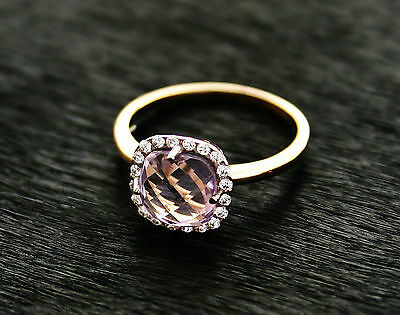 585 Russian Rose 14ct Gold Natural Amethyst Ring Size P-18 gift boxed