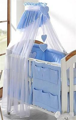 LUXURY BABY CANOPY DRAPE + HOLDER FIT COT/ COTBED/ COT BED white/blue