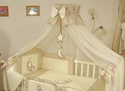 LUXURY BABY CANOPY /DRAPE + HOLDER 480cm WIDTH Fit COT BED Moon Star Beige