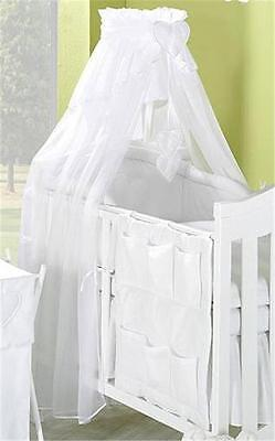 LUXURY BABY CANOPY / DRAPE + HOLDER  FITS COT / COTBED - White