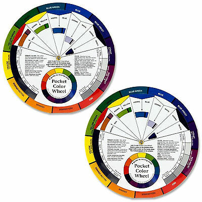 Set Of 2 Pocket Colour Wheel Tool Mixing Paint Learning Artist Kids Guide
