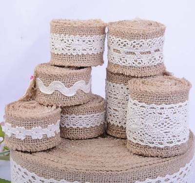 Jute Burlap Trim with Cotton Lace Natural Hessian Ribbon Edge Wedding Vintage