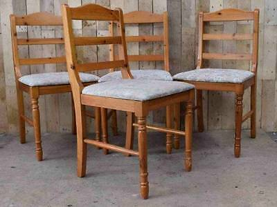 Retro Vintage Set Of 4 Solid Wooden Pine Ladder Back Dining Chairs - Upcycle?