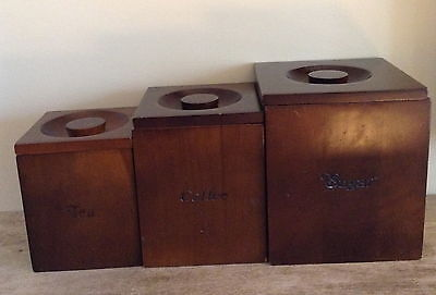 Set of 3 Mid Century Minimalist Square Brown Wood Canisters with Liner