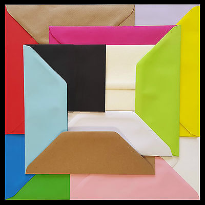 "DL Coloured Envelopes 110x220mm 4x8.5"" Greetings Cards Party Invitations & Craft"
