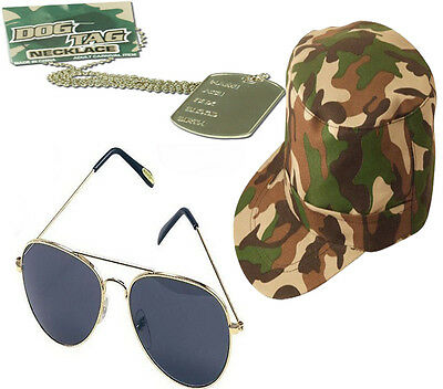 Mens Ladies Army Camouflage Cap Dog Tags Aviator Glasses Fancy Dress Costume Set
