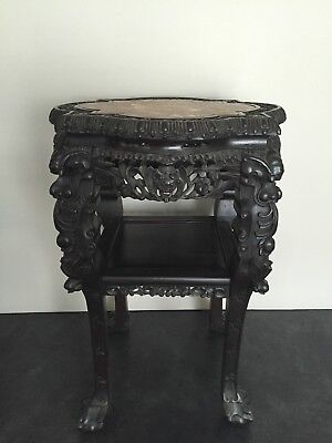 Large 19th C. Carved Chinese Marble Top Hardwood Table Stand - Dragon Carvings