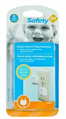 Safety 1st Deluxe Press Fit Outlet Plugs 8-Count NO TAX FREE SHIPPING