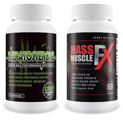 Theratosterone & Mass Muscle FX - Muscle Gain & Testosterone Booster Shred Fat