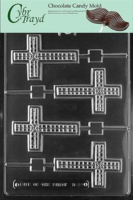Cybrtrayd R061 Cross Lolly Chocolate Candy Mold with Exclusive Copyrighted Mo...