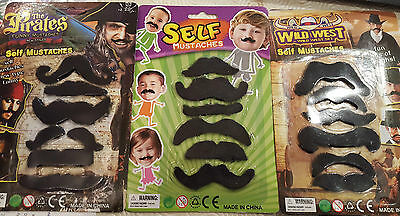 Stick On Self Adhesive Moustaches Different Types 6 Per Pack Felt Facial Hair