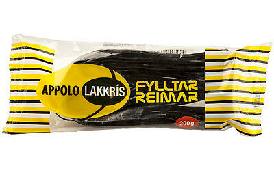 Apollo licorice shoe strings with marzipan - 200g - Made in Iceland