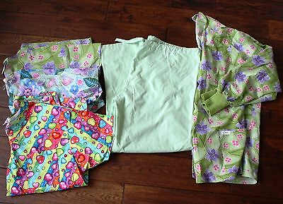 Women's scrubs LOT mixed light GREEN pants and 3 tops shirts Large  jacket