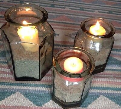 Italian Set (3) Thick Sage Green Hand Blown Glass Jars / Canisters / Luminaries