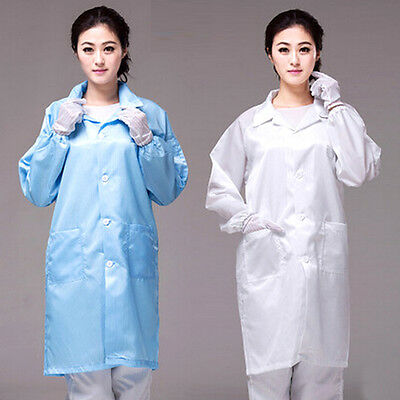 Unisex Medical ESD-Safe shield Anti-static Dustproof LAB Smock Clothes Coats