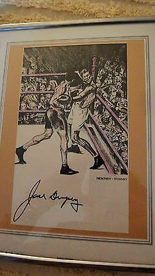 Boxing-Framed Drawing of Dempsey-Tunney Fight, Signed