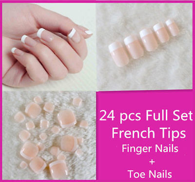 24 Pcs French Nail Girls Designer Acrylic Fake Nail Set For Party