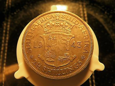 South Africa 2-1/2 Shillings, 1943 Georgivs Vl Silver Coin Extra Fine Condition!