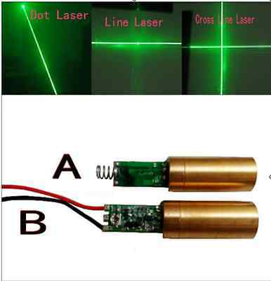 10/30/50/100/200mW 532nm Green Dot/Line/Cross Laser Module Driver Spring/Wire