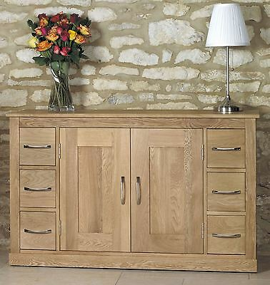 mobel solid oak living dining room furniture large sideboard with six drawers baumhaus mobel oak large