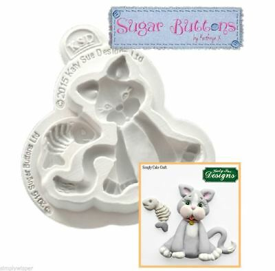 Katy Sue Design Cat Decoration Cake Crafting Silicone Mould Buttons Sugarcraft