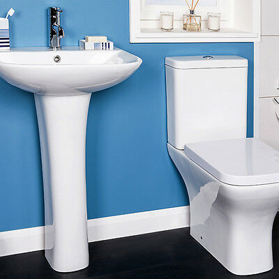 Modern Close Coupled WC Toilet Basin & Pedestal Cloakroom Bathroom Suite