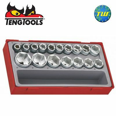 Teng 17pc 1/2in Drive 6 Point Socket Set TT1217-6 Metric - Tool Control System