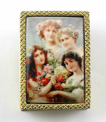 ANTIQUE STYLE ENAMEL FOUR VICTORIAN BEAUTIES 18ct GOLD PLATED PILL TRINKET BOX