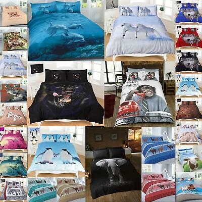 Animal Duvet Cover Sets Double Single King Size 3D Print Christmas Bedding New