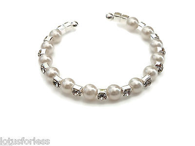 Baby / Childs Bracelet Bangle Torque Style crystal pearl silver tone VERY SMALL