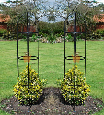 Set of 2 Garden Obelisk Climbing Plants Support Roses Metal Arch 1.9m High Pair