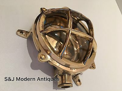 Industrial Bulkhead Wall Light Gold Brass Ceiling Antique Vintage Ship Lamp Old