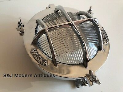 Silver Industrial Ceiling Wall Light Bulkhead Antique Vintage Wiska Aluminium