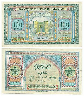 Morocco 100 Francs 1944 P 27 Circulated See Scan (E523)